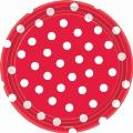 Where to rent 18ct 10.5  Red Polka Dot Plate in Auburn IN