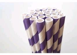 Where to find 25ct Purple Striped Paper Straw in Auburn